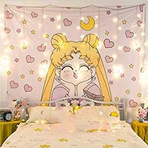 Valko shop Japanese Anime Sailor Moon Decor Wall Cloth Lovely Tapestry Home Decor Bedroom Decorative Tapestry(Size : 100cm×70cm)…… (yellow)