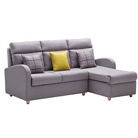 Amazon.com: HM HOME Sectional Sofa Couch with Chaise Lounger ...