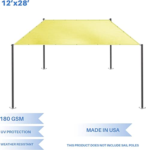 E K Sunrise 12 x 28 Sun Shade Sail- Canary Yellow Straight Edge Rectangle UV Block Durable Awning Perfect for Canopy Outdoor Garden Backyard-180GSM-Customized