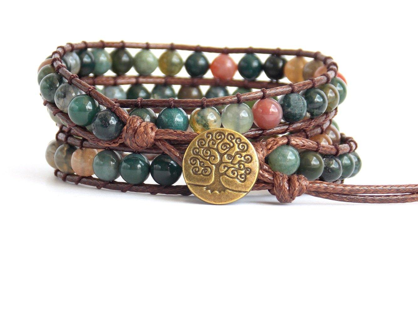 Tree of Life Bracelet Fancy Jasper Beaded Wrap (Bronze Button) by Carolyn Jane's Jewelry