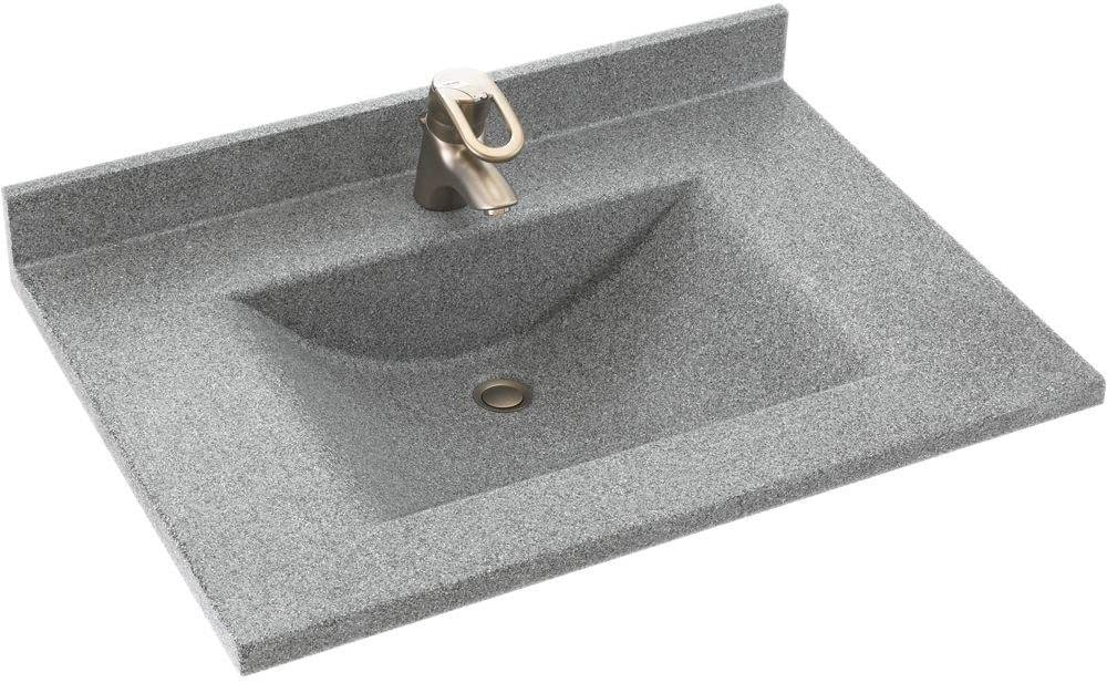 Swanstone Cv02237 042 Contour Solid Surface Single Bowl Vanity Top 37 In L X 22 In H X 6 25 In H Gray Granite Vanity Sinks Amazon Com