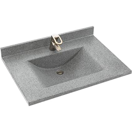 Swanstone CV2237 042 Contour 37 Inch Solid Surface Vanity Top With Gray  Granite Basin