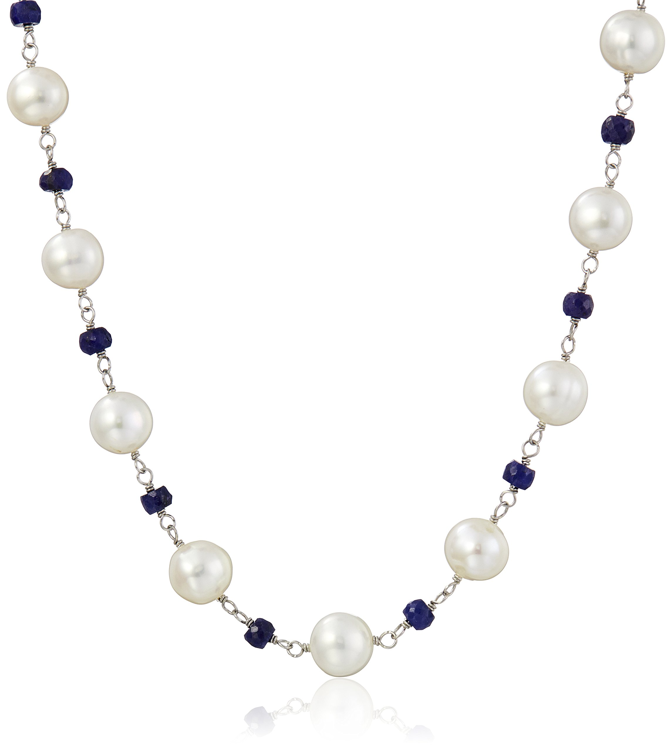 Sterling Silver 8-9mm White Freshwater Cultured Pearl 4mm Simulated Blue Sapphire Strand Necklace, 18''