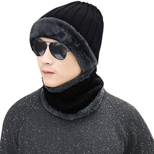 d42de8c0dd3 Image Unavailable. Image not available for. Color  2-Pieces Winter Men Beanie  Hat Scarf Set Thick Fleece Lined Knit Hats Warm Skull