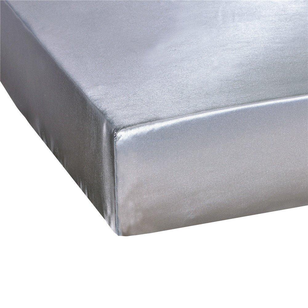 elegantstunning Emulation Silk Mattress Cover Beddings Supplies Gray 19820330(7880)(0.6KG)