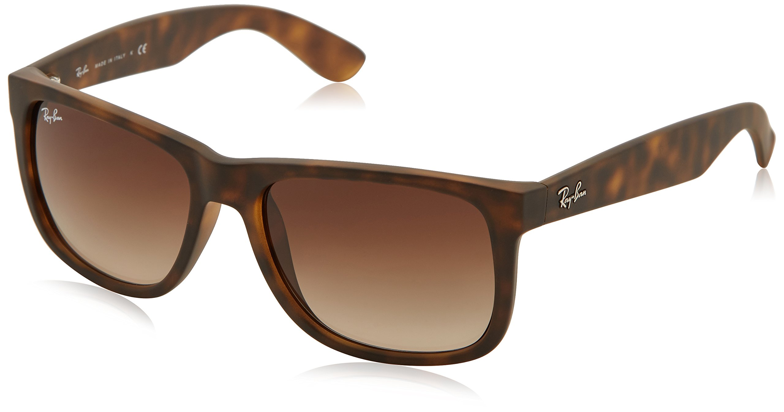 Ray-Ban Justin RB4165 Sunglasses-710/13 Rubber Light Havana/Brown Gradient-55mm