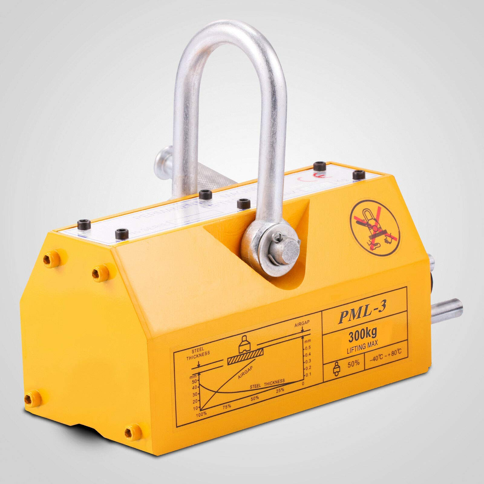 Mandycng Heavy Duty Non-Electric 660lb 300kg Steel Lifting Magnet Magnetic Power Lifter Hoist Crane Recycle Mold Machinery Industry Steelwork Factory Steel Warehouse Magnetic Lifter