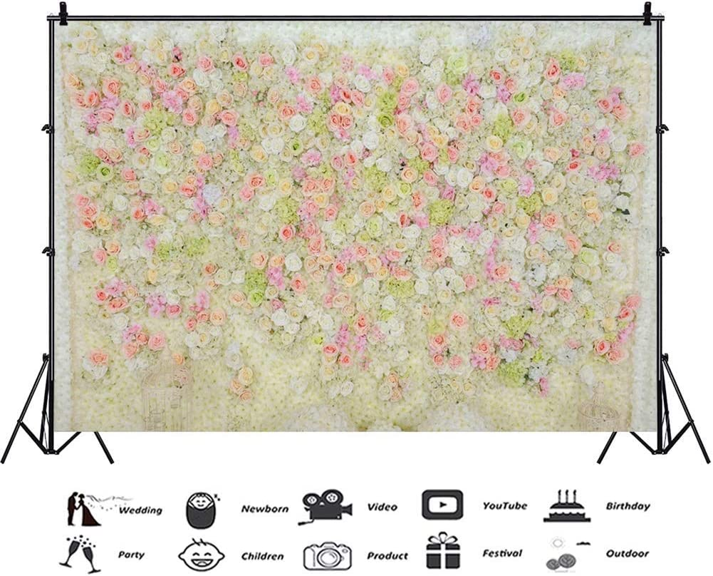 Polyester 8x6.5ft Multicolored Rose Flower Wall Photography Backdrops Romantic Valentines Day Background Children Adults Girls Portrait Shoot Wedding Ceremony Party Photo Studio Props Wallpaper