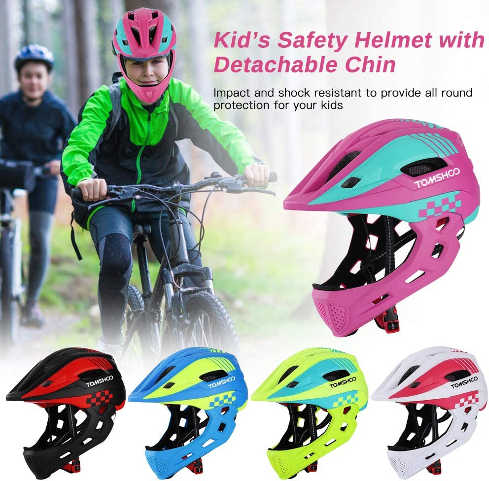 TOMSHOO Kid Bike Full Face Helmet Children Safety Riding Skateboard Rollerblading Helmet Sports Head Guard with Detachable Chin and Taillight