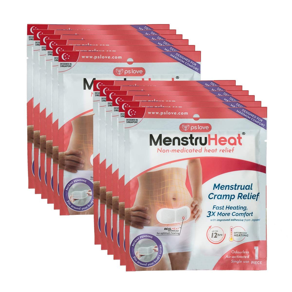 MenstruHeat Heating Pad for Menstrual Cramp Relief and PMS Comfort from Period Pain - Pack of 12 (patches/wraps/pads) by MenstruHeat
