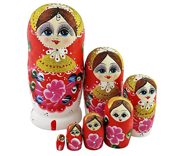 Nesting dolls Pink Russian boy with a basket of mushrooms signed for kids wooden