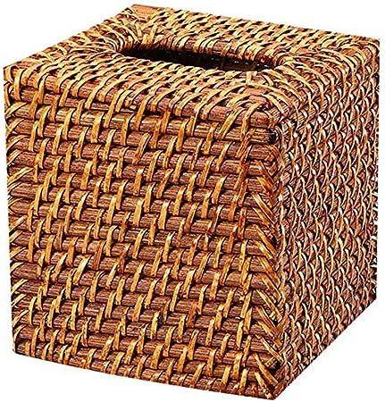 YHAMY Retro Tissue Box Tissue Rattan Mano Box Tessuto Quadrati vassoi Senza Fondo Desktop tovagliolo Box Brown