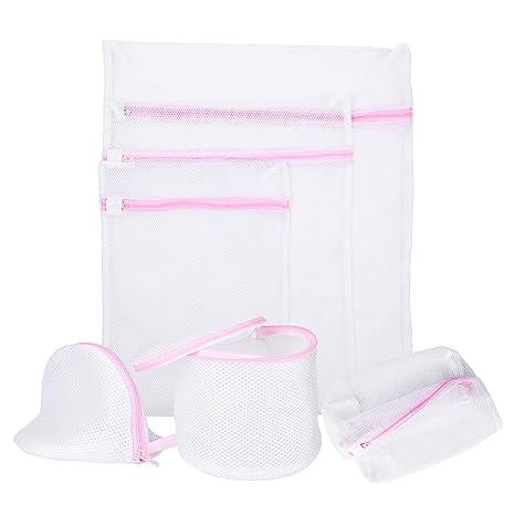 SECINBO bolsas de lavado con cremallera de malla blanca para ...