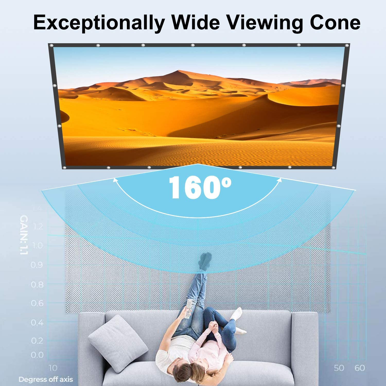 16:9 Outdoor Projector Screen for Outdoor Movies Portable Projector Screen,Movies Screen for Home Theater Projector Screen 120 inch Projector Screen 4K HD