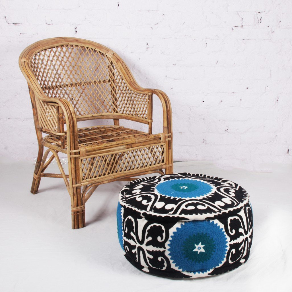 Jaipur Textile Hub Bohemian Blue pouf Embroidered Footstool Decorative Patchwork Ottoman JTH-PUF-12