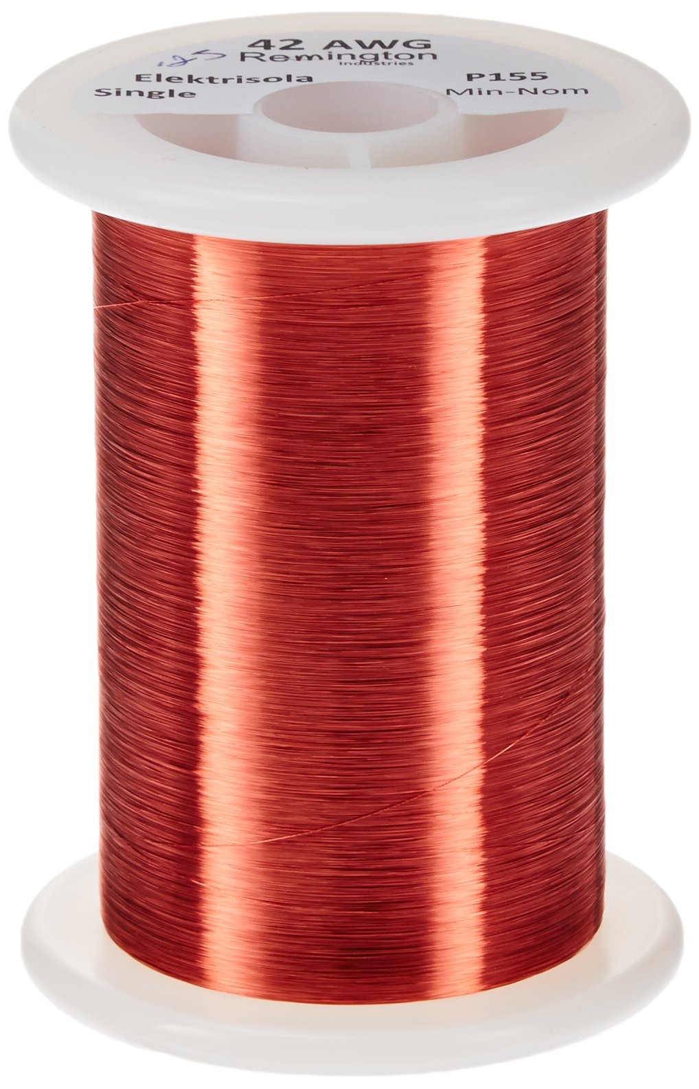Remington Industries 42SNSPR.25 42 AWG Magnet Wire, Enameled Copper Wire, 4 oz, 0.0026'' Diameter, 12828' Length, Red