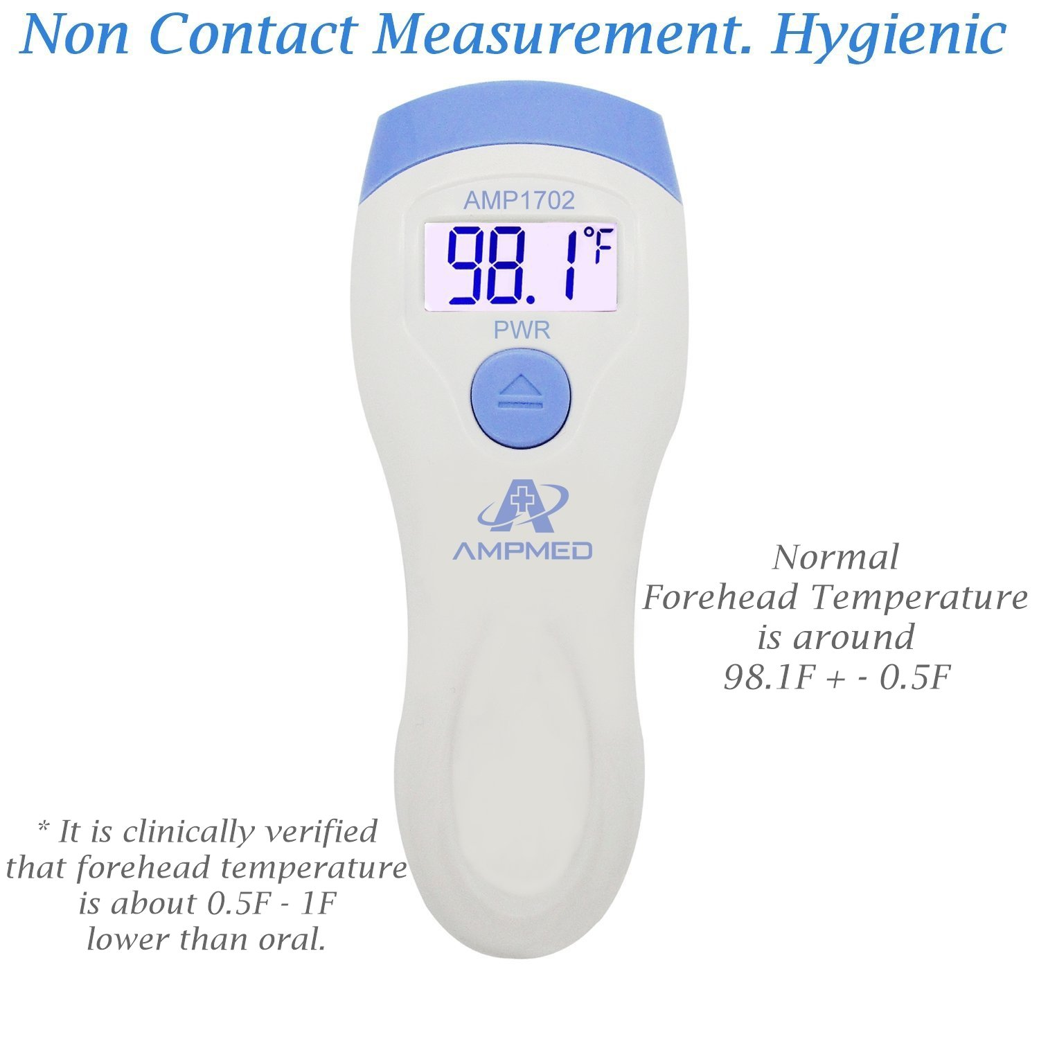 Amplim FDA Approved Medical Hospital Grade Non Contact Infrared Forehead Thermometer. Best Baby/Kid/Infant/Toddler/Child/Adult/Professional/Clinical Digital No Touch Travel Fever Thermometer. New 2018 by Amplim (Image #5)