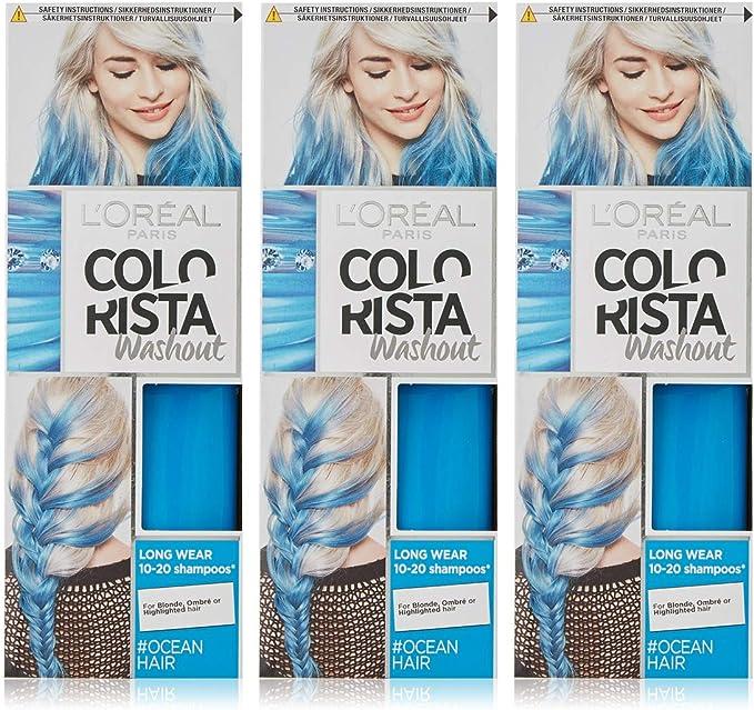 LOreal Paris Colorista Washout Neon tinte semipermanente para el cabello, azul océano, 80 ml, paquete de 3