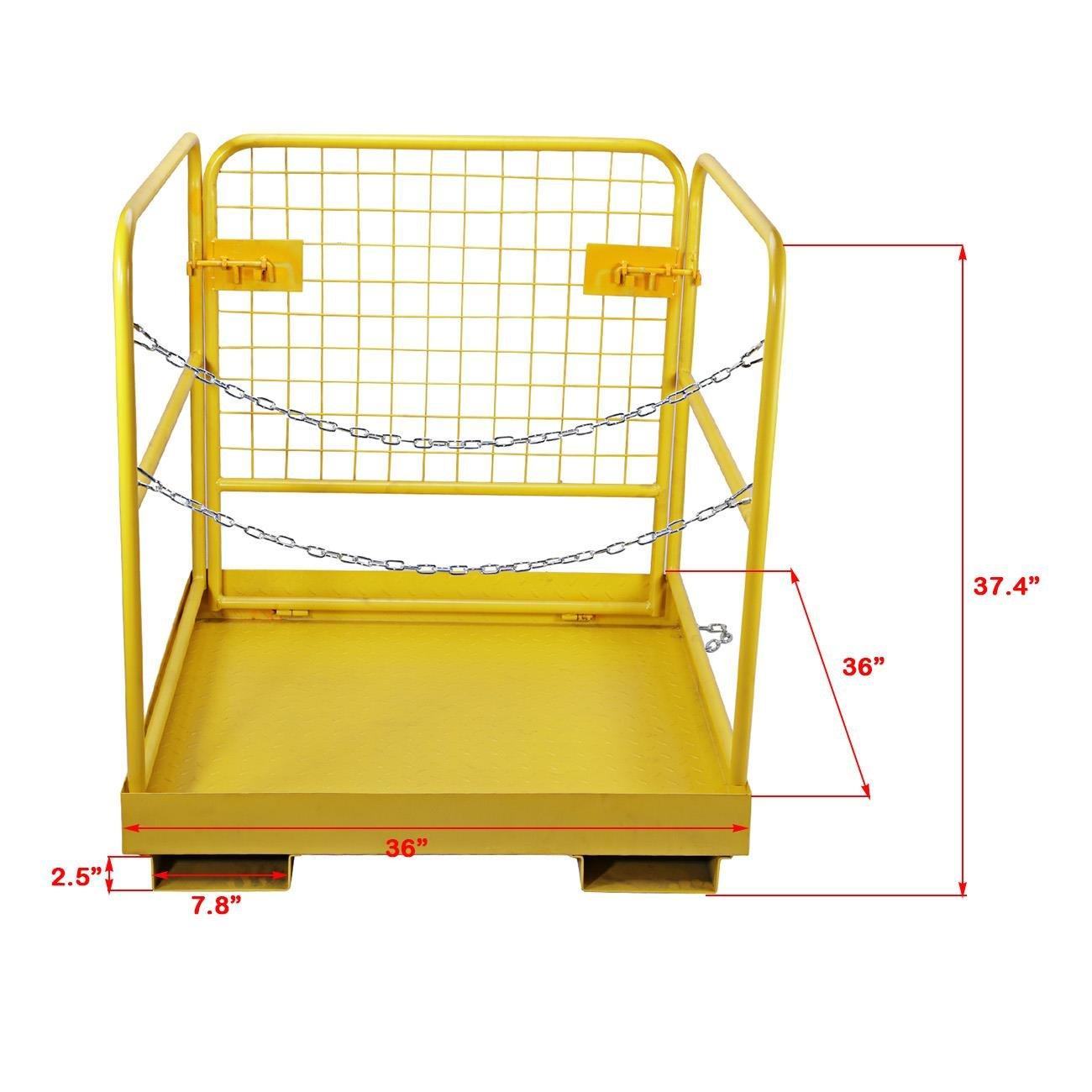 BEAMNOVA Forklift Safety Cage Work Platform Collapsible Lift Basket Aerial Rails 36''x36'' by BEAMNOVA (Image #1)
