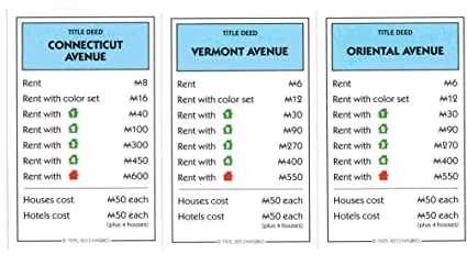Amazoncom Monopoly Light Blue Deed Cards Connnecticut Avenue