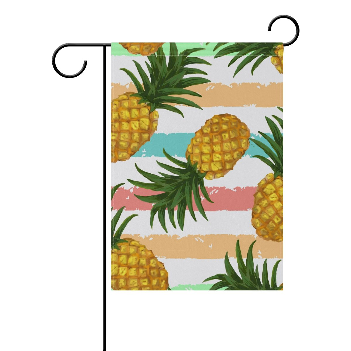 """Pineapple on White Flag 12/""""x18/"""" High Quality Hand Sewn in the USA"""