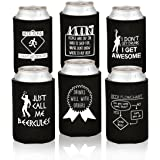 Funny Beer Can Coolers - 6 Pack- Witty Party Favor Drink Coolies - Gag Gifts for Men - Novelty Beverage Insulators with Clever Jokes and Sayings