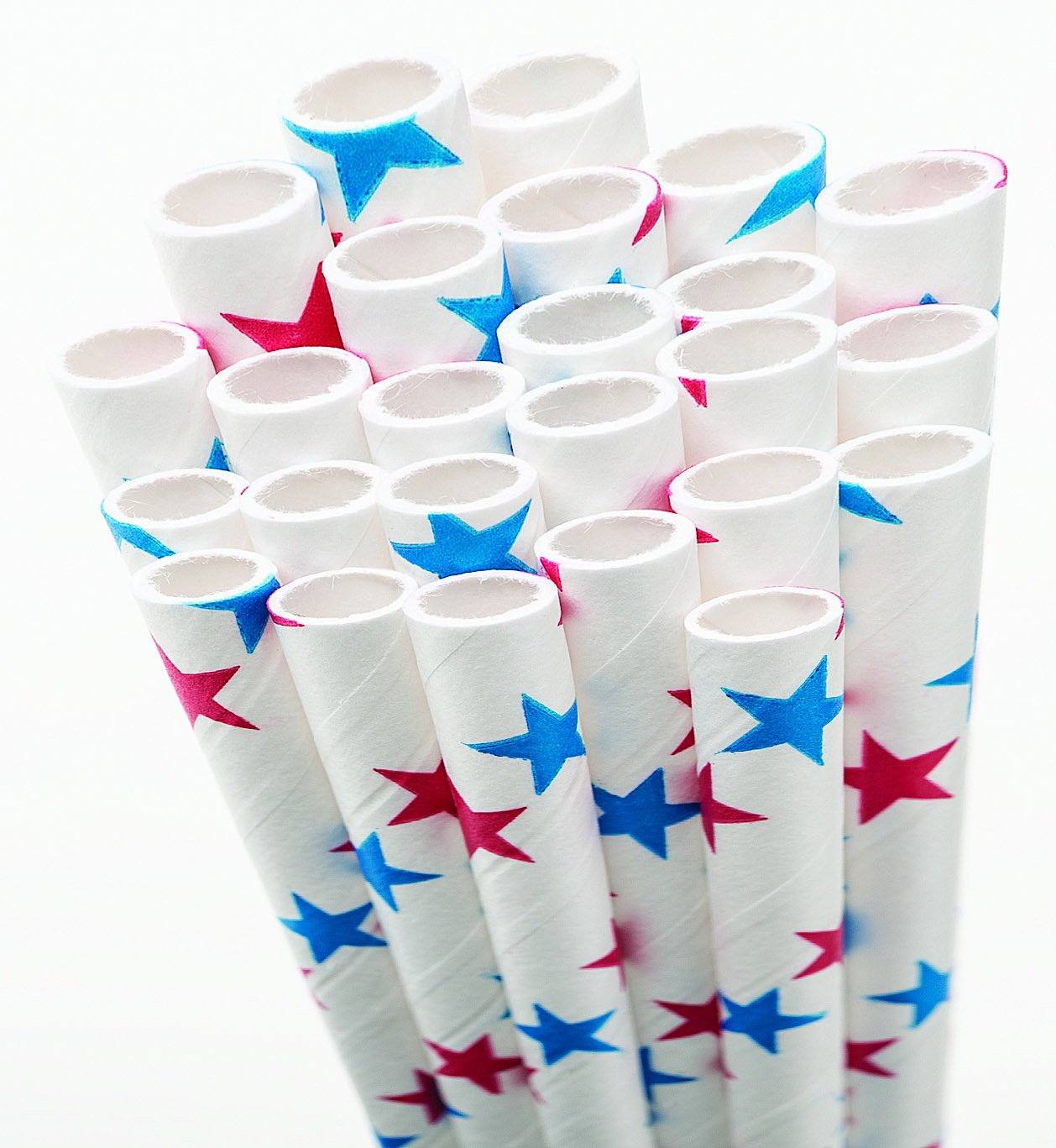 Aardvark 61520014 Paper Drinking Straw, 7/32'' Diameter x 7-3/4'' Length, Red and Blue Stars (8 Boxes of 600) by Aardvark Straws