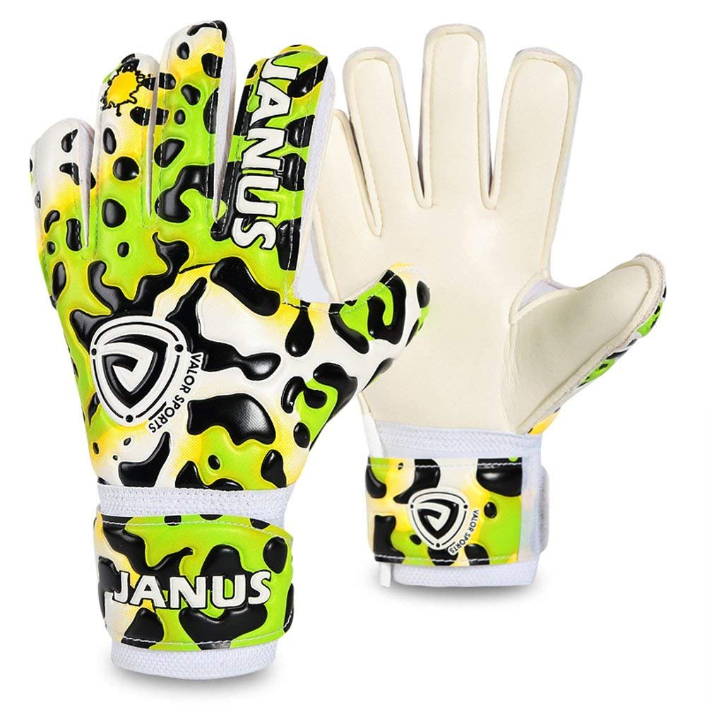 Coodoo Goalie Gloves with Fingersaves to Give Splendid Protection to Prevent Injuries, 3.5mm Strong Germany Supersoft Palm, Double Rip-Tab Strap, Size 4-7 Fit for Kids, Youth (Green Leopard, 5)