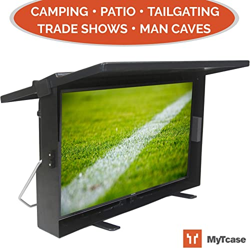 MYTCASE Protective TV Carrying Case for Tailgating, Camping, Backyard BBQ, and Travel – Transport Secure Display Your LED TV, Black