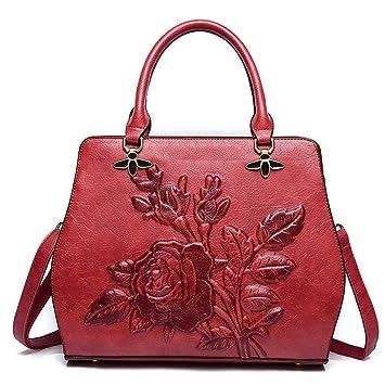 Jxth Carteras de Negocios de la Vendimia Bolso clásico con Forma de Flor de Rosa Otoño
