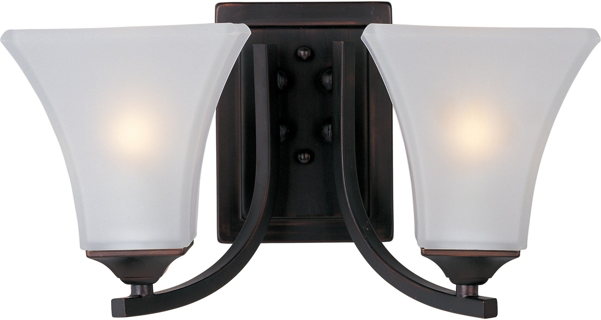 Maxim 20099FTOI Aurora 2-Light Bath Vanity Wall Sconce, Oil Rubbed Bronze Finish, Frosted Glass, MB Incandescent Incandescent Bulb , 60W Max., Damp Safety Rating, Standard Dimmable, Hemp String Shade Material, Rated Lumens