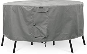"KHOMO GEAR - Titan Series - Round Patio Table & Chair Set Cover - Durable and Water Resistant Outdoor Furniture Cover (Grey, Small - 60"" Diameter)"