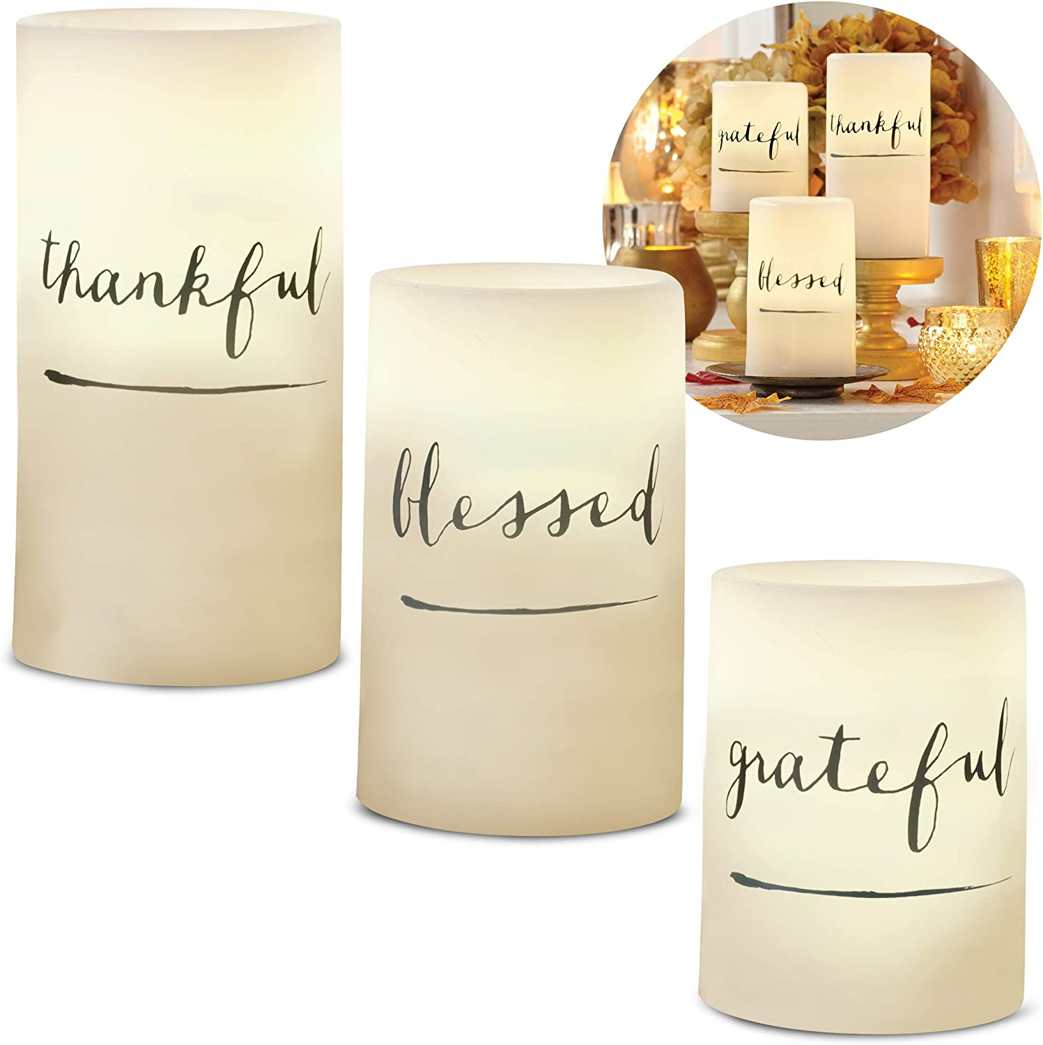 3-Piece Flickering LED Candle Set with Daily Timer by Order Home Collection, Flameless Candles, Real Wax, Battery Powered, Light Dances and Flickers, Tiered Pillars (Grateful, Thankful, Blessed)