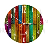 Hoopoe Decor Colorful Wooden plank Trendy Wall Clock
