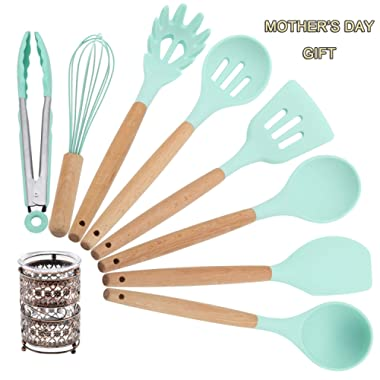 Kitchen Utensil Set with Holder Silicone Cooking Utensils 9 Piece - Mint Green Kitchen Tool Set with Bamboo Wood Handles for Nonstick Cookware FDA Approved BPA Free Tongs Spatula Spoon Set by Twichan