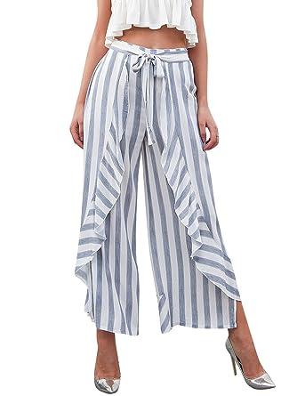 f6014e69a7df BerryGo Women s Casual High Waist Striped Ruffle Split Wide Leg Trouser  Pants Dusty Blue
