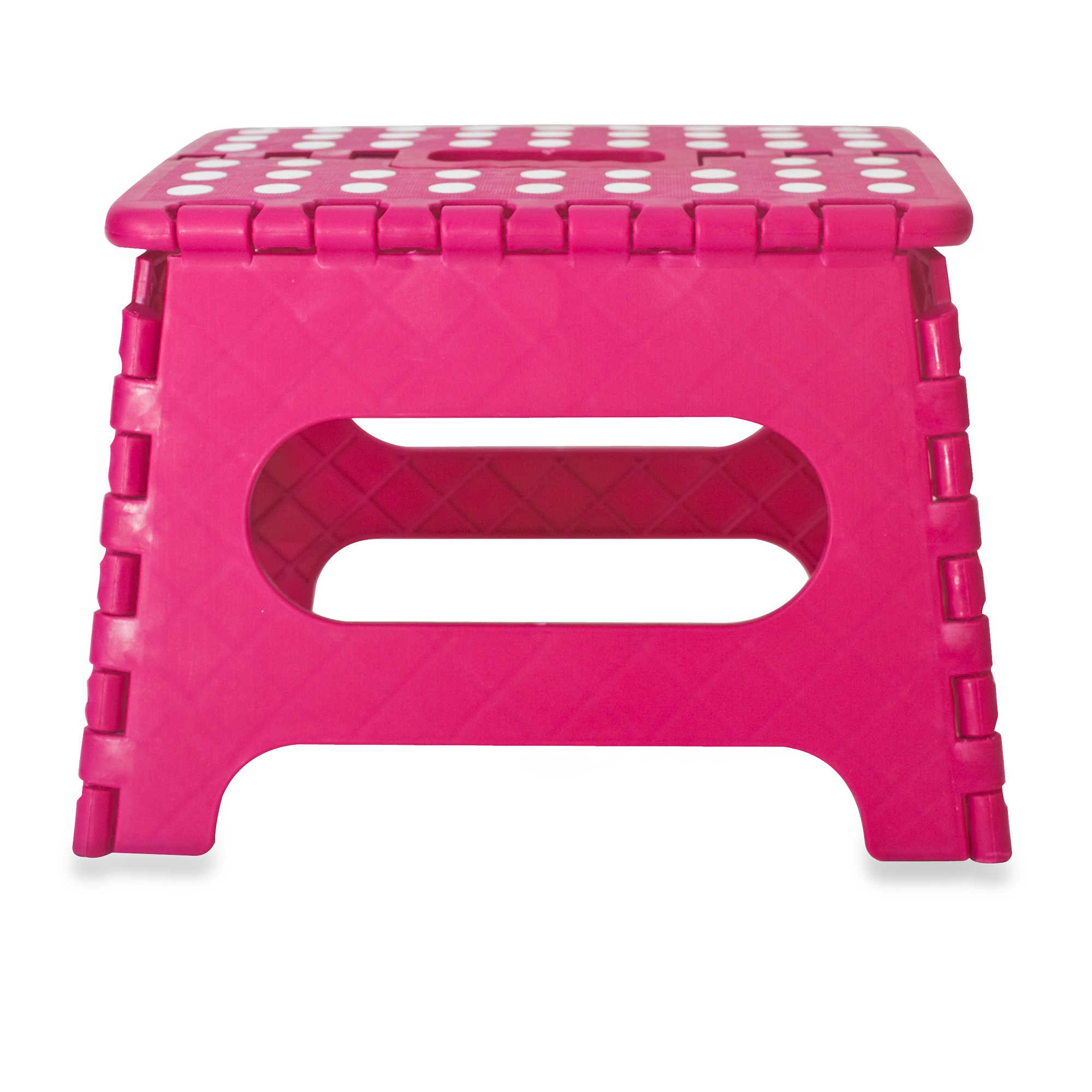 9 inch Folding Step Stool - Anti-Skid Foot Pads - 330lb Capacity (Pink)