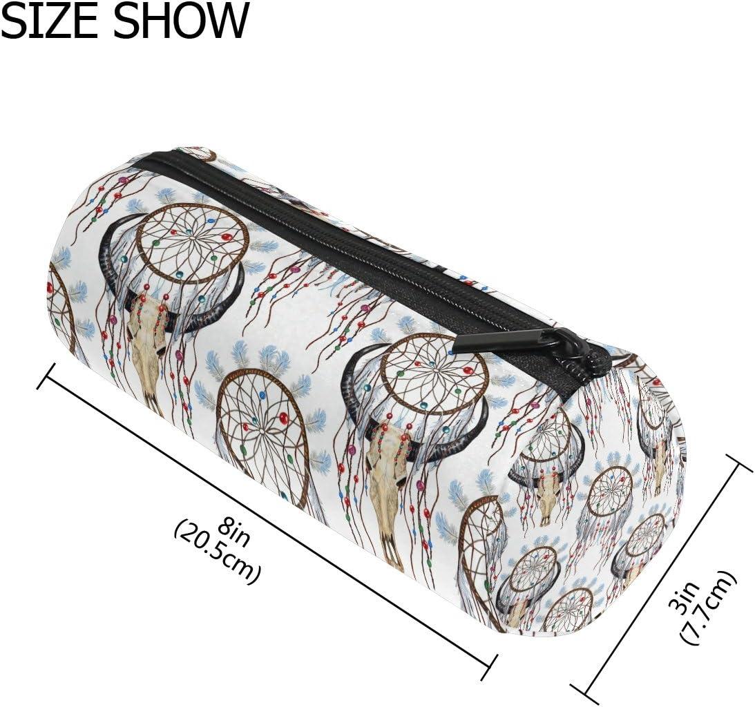 COOSUN Buffalo calavera y atrapasueños patrón estuche cilíndrico forma bolígrafo papelería bolsa cosmética bolsa de maquillaje: Amazon.es: Oficina y papelería