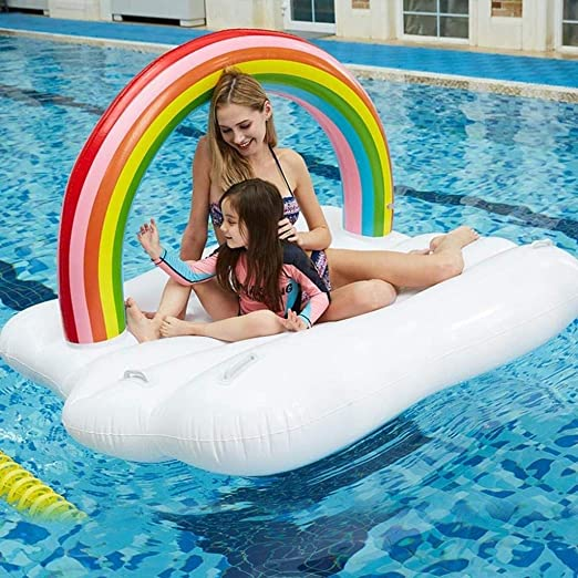Inflatable Rainbow Pool Float Giant Swimming Inflatable Rafts Rainbow Pool Toys Floatie for Summer Beach Swimming Pool Party Fun Kids Adults