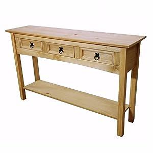 Mercers Furniture Corona 3cassetti Tavolo consolle, Legno Anticato, Cera, 122x 32x 73cm