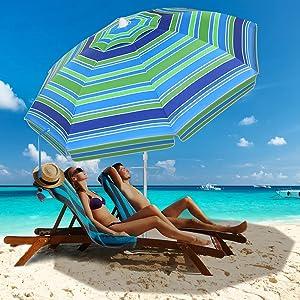 TOOXENA Beach Umbrella, 6.5ft Patio Umbrella with Sand Anchor & Tilt Aluminum Pole, UV 50+ Beach Umbrellas for Sand Heavy Duty Wind with Carry Bag for Beach Patio Outdoor Garden Lawn Picnic