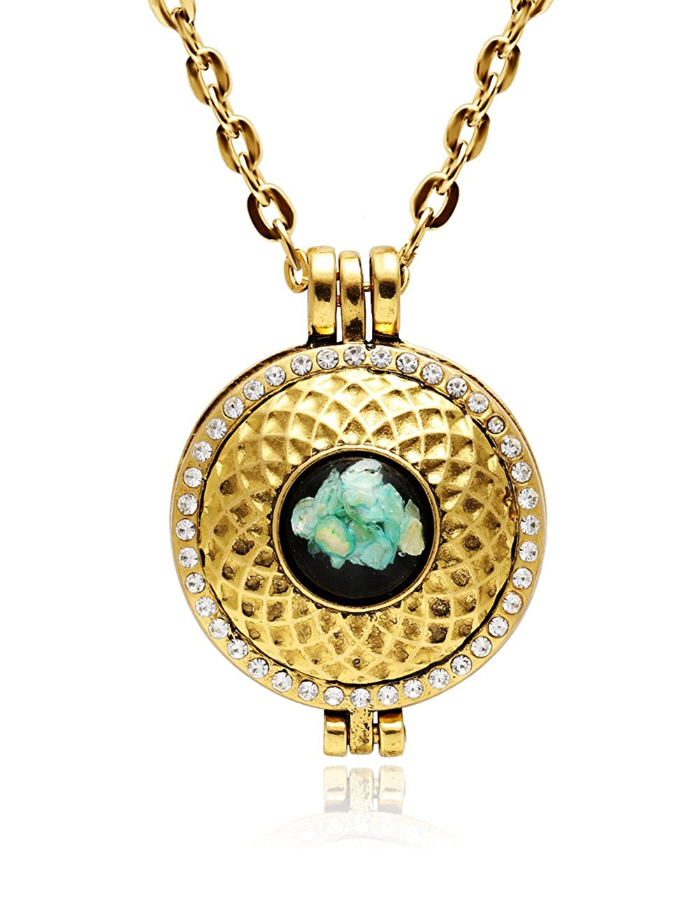CHUANGYUN Various Gold Geometric Figure Resin Shell Locket Essential Oil Aromatherapy Diffuser Necklace
