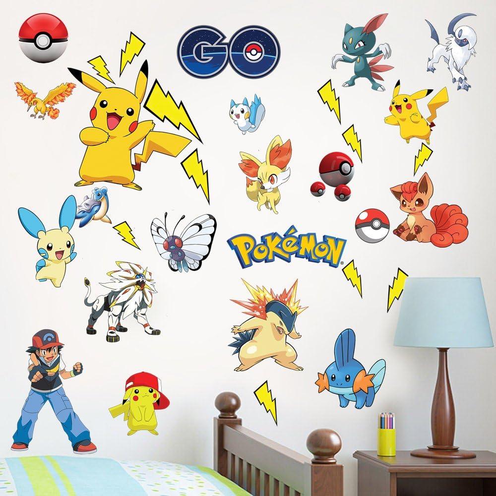 Choix taille et couleur Stickers Mural Pikachu Pokemon 2
