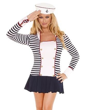 2 Piece Womens Sailor Costume Set Long Sleeve Sailor Dress and Hat Sizes Medium  sc 1 st  Amazon.com & Amazon.com: 2 Piece Womens Sailor Costume Set Long Sleeve Sailor ...