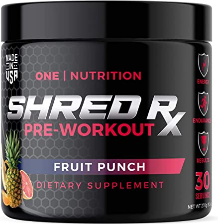 Shred Rx Pre Workout Powder with High-Dose Energy, Focus, Strength, and Endurance – Sugar Free Sport Preworkout for men & Women – 135mg Caffeine & Creatine Supplement – Power Fruit Punch - 30 Servings