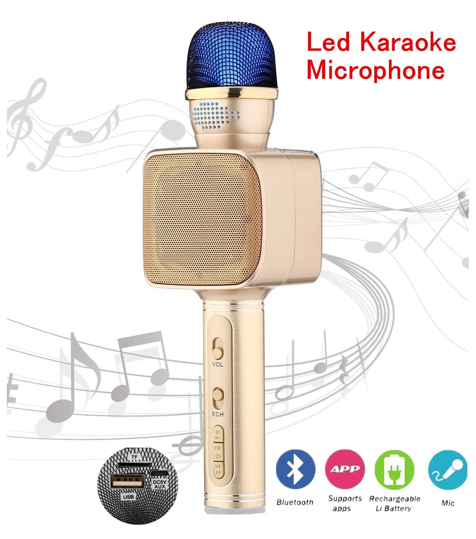 Bluetooth Wireless Led Microphone Christmas Kids Gift Portable Mini