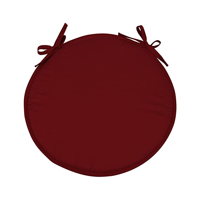 SIMPVALE - Juego de 4 Cojines Redondo para sillones sillas Cojines de sillas diámetro 38 cm, Rojo Oscuro