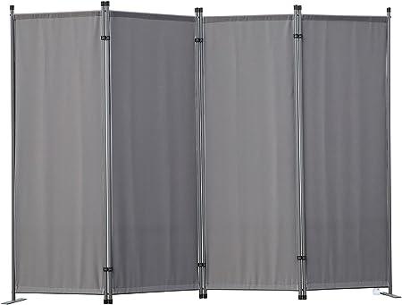 Angel Living Biombo Separador de 4 Paneles, Decoración Elegante, Separador de Ambientes Plegable, Divisor de Habitaciones, 225X165 cm (Gris): Amazon.es: Hogar
