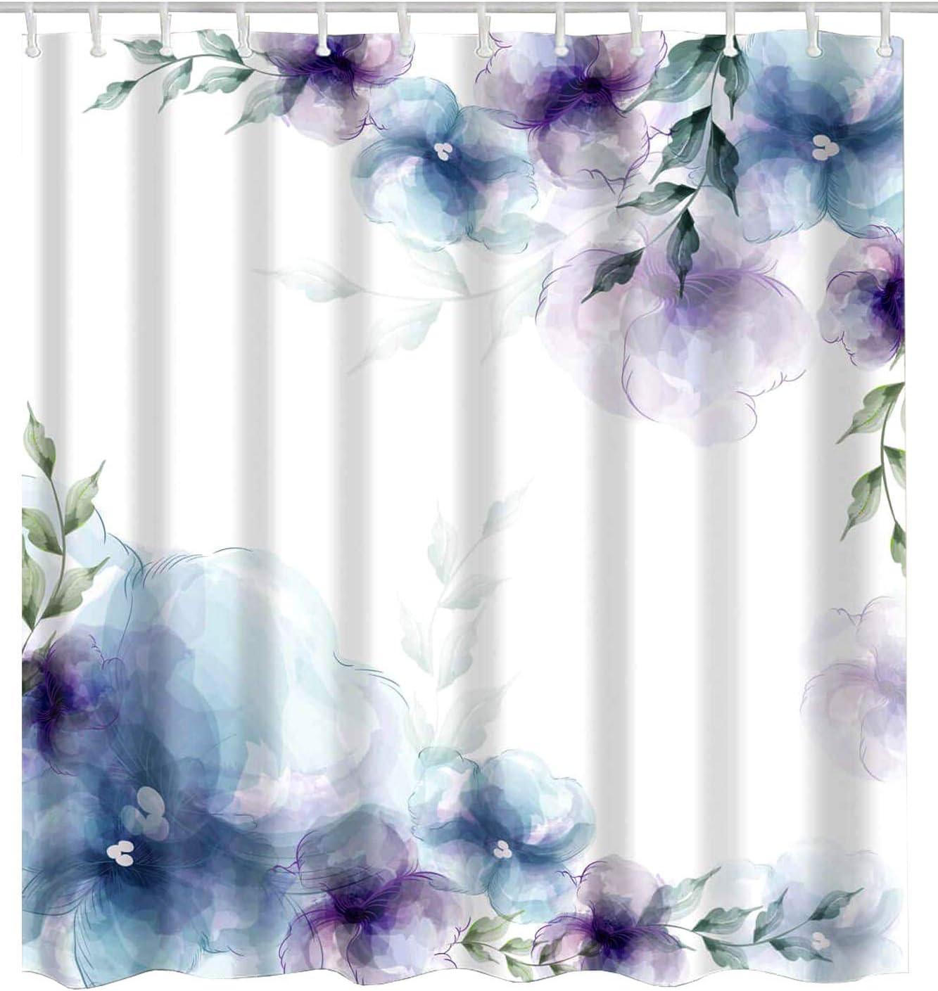 BROSHAN Watercolor Flower Bath Decor Shower Curtain, Spring Retro Flower Elegant Nature Art Print Bath Curtain, Purple Blue Waterproof Fabric Bathroom Accessories with Hooks,72 x 72