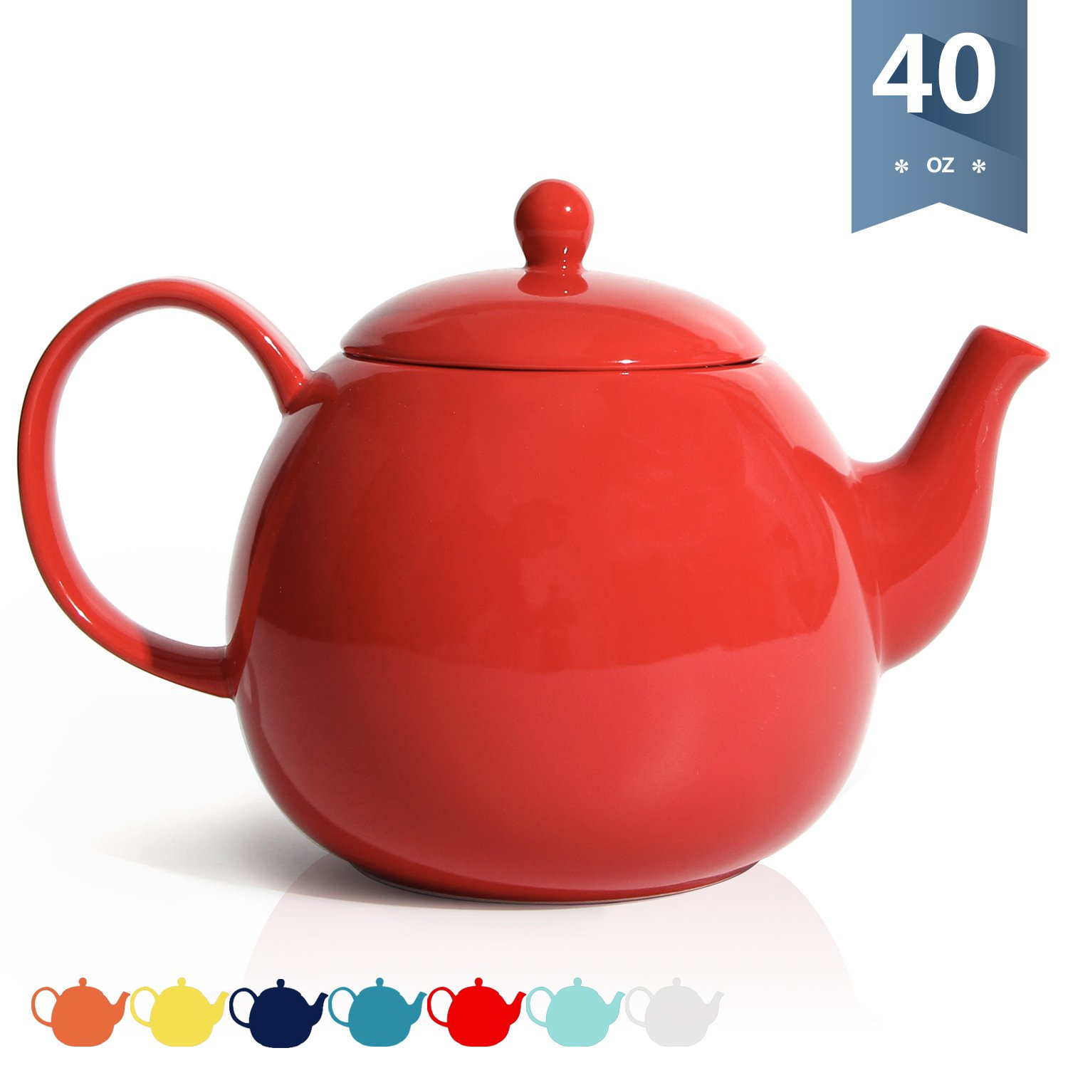 Sweese 2313 Porcelain Teapot, 40 Ounce Tea Pot - Large Enough for 5 Cups, Navy